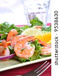 Seasoned Juicy Cocktail Shrimp Plate Closeup - stock photo
