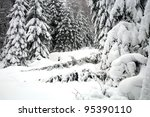 Winter forest, snowy landscape in mountain. - stock photo