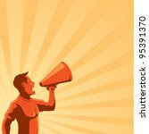 man with loudspeaker | Shutterstock .eps vector #95391370