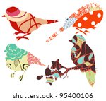 retro decorate birds set | Shutterstock .eps vector #95400106