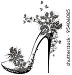 Shoes On A High Heel Decorated...