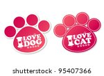 paw print stickers with text i... | Shutterstock .eps vector #95407366