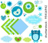 baby boy shower elements set | Shutterstock .eps vector #95416942