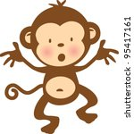 Cute Monkey Vector Graphic...