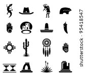 arch,arizona,bear,black,cactus,chili,clliff dwelling,cowboy,culture icons,desert,dream catcher,hat,icon,illustration,kokopelli