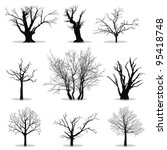 collection of trees silhouettes | Shutterstock .eps vector #95418748