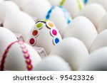 bunch of white eggs with... | Shutterstock . vector #95423326