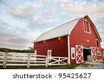 Old Red Barn On A Farm