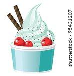 frozen yogurt with cranberries | Shutterstock .eps vector #95431207