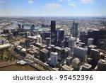 Melbourne City Cbd Aerial View...
