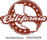 Vintage California State Stamp - stock vector