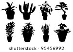 Set Of Potted Plant Silhouettes