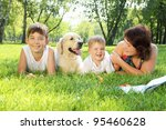 mother and her two sons in the... | Shutterstock . vector #95460628