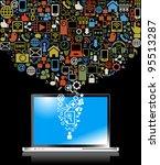 social media  communication in... | Shutterstock .eps vector #95513287