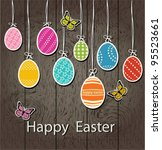easter eggs on a wooden wall... | Shutterstock .eps vector #95523661