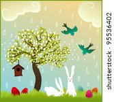 bunny couple in love in a... | Shutterstock . vector #95536402