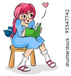 cute girl reading a book ... | Shutterstock . vector #95547742