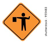 flagger sign isolated on a... | Shutterstock . vector #955483