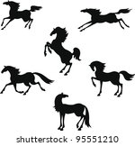 silhouette of horses in... | Shutterstock .eps vector #95551210