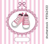 pink shoes or pair kids sneaker ... | Shutterstock .eps vector #95562433
