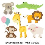 Stock vector vector illustration of cute animal set including koala crocodile giraffe monkey lion and sheep 95573431