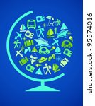 blue globe with traveling... | Shutterstock .eps vector #95574016
