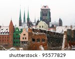 Ruins of old town in Gdansk at frosty winter, Poland - stock photo
