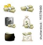 paper money and money bag.... | Shutterstock .eps vector #95578480