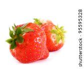 ripe strawberries over white... | Shutterstock . vector #95595328