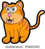 Crazy Cat Kitten Vector Illustration Art Animal Pet - stock vector