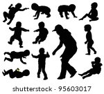 baby silhouettes collection.... | Shutterstock .eps vector #95603017