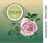 vintage border with rose | Shutterstock .eps vector #95617285