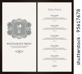 restaurant menu design with... | Shutterstock .eps vector #95617678