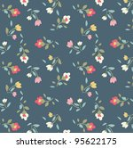 tiny floral pattern on navy... | Shutterstock . vector #95622175