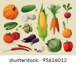 a set of delicious vegetables. | Shutterstock .eps vector #95626012