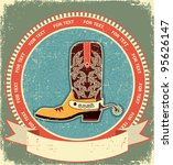 Cowboy Boot Label On Old Paper...