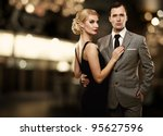 retro couple over blurred... | Shutterstock . vector #95627596