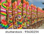 row of huge joss sticks during...   Shutterstock . vector #95630254