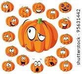 pumpkin cartoon with many... | Shutterstock .eps vector #95631442
