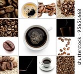 brown coffee cup beans collage | Shutterstock . vector #95651668
