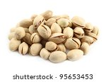 heap of pistachios on white... | Shutterstock . vector #95653453