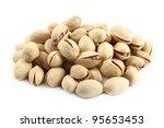 heap of pistachios on white... | Shutterstock . vector #95653453