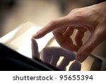 man hand touching screen on... | Shutterstock . vector #95655394