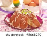 cocoa ring cake with marzipan filling for easter - stock photo