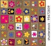 happy flowers pattern - stock vector