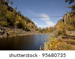 600 foot pedestrian suspension bridge at Eagle Canyon (northeast of Thunderbay)  near Dorion, Ontario. Canada.