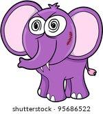 Crazy Insane Elephant Vector Illustration Art - stock vector