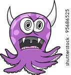 Crazy Insane Octopus Vector Illustration Art - stock vector