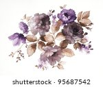 Stock photo color illustration of flowers in watercolor paintings 95687542