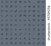 A set of 100 embossed style web icons for all your internet, interface or app needs - stock photo